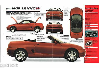 1995 / 1996 ROVER MGF 1.8 VVC  SPEC SHEET / Brochure / Flyer / Photo's