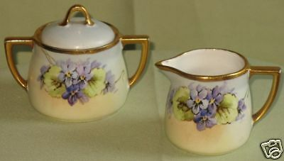 VINTAGE HP KPM GERMANY PANSY SUGAR BOWL & CREAMER SET
