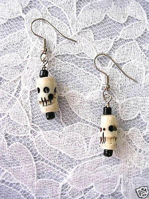 Hand Made Antique Buffalo Bone Bead Carved Skull Dangle Drop Goth Earrings