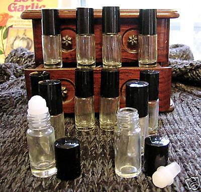 SET-Glass bottles-12 Pc, 5ML QUALITY Roll-on Roller Ball tops pagan wicca NICE!