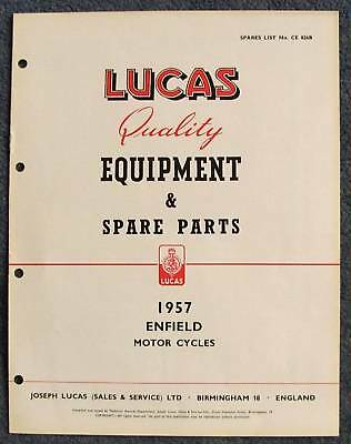LUCAS ENFIELD Motorcycles Spare Parts List 1957 #CE826B