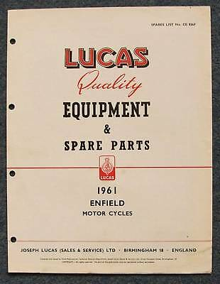 LUCAS ENFIELD Motorcycles Spare Parts List 1961 #CE826F