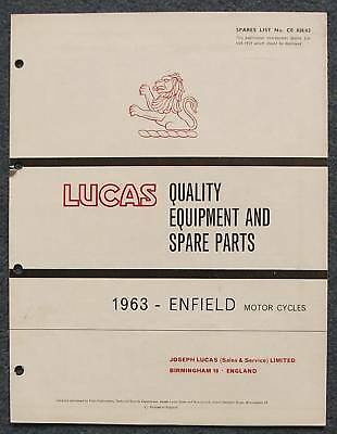 LUCAS ENFIELD Motorcycles Spares List 1963 #CE826/63