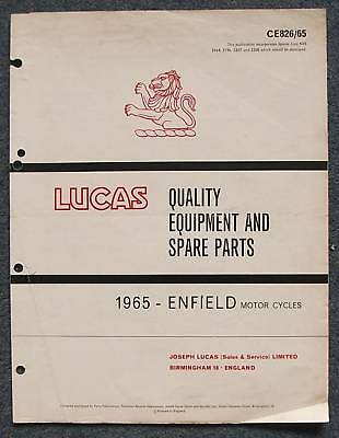 LUCAS ENFIELD Motorcycles Spares List 1965 #CE826/65
