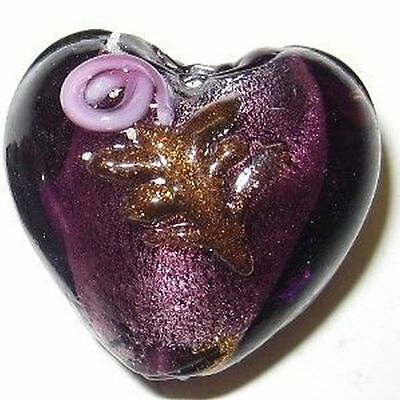 4 Pieces Silver Foil Heart Glass Beads - 20mm - A3972