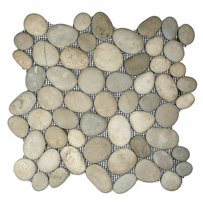 Sample Asian Tan Natural Pebble Mosaic wall floor tiles