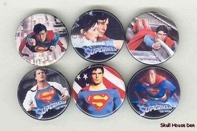 SUPERMAN Christopher Reeves 6 New Buttons/Magnets