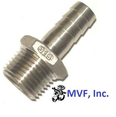 "HOSE BARB for 1/2"" ID HOSE X 1/2"" MALE NPT HEX BREWING 316 STAINLESS  646WH"