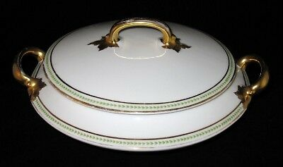 Limoges - Old Abbey - Green Laurel - Covered Serving Bowl with Lid