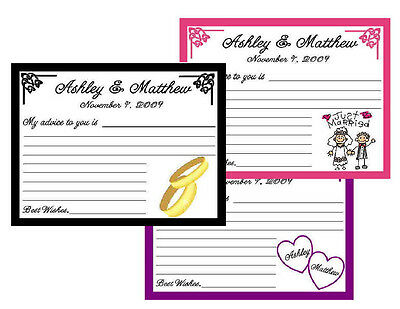 50 WEDDING or BRIDAL SHOWER ADVICE CARDS - PERSONALIZED