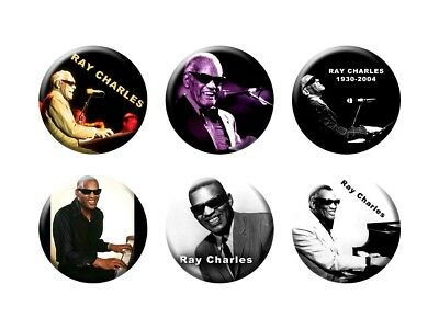 RAY CHARLES 6 new Buttons/Magnets