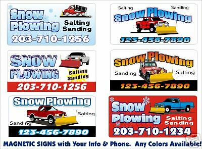 2 Personalized Magnetic Snow Plow Truck SIGNS for Jeep Ford Chevy Plow Trucks