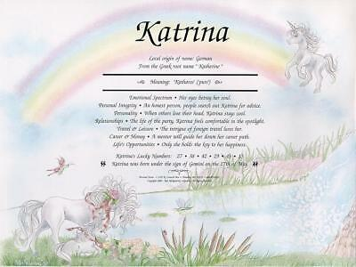 * Unicorn Rainbow Personalized Name Meaning Print