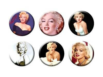 MARILYN MONROE 6 new Buttons/Magnets