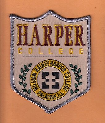 "LOT of 16 OLD LARGE CLASSIC 4 1/2"" PATCHES HARPER COLLEGE ILLINOIS UNUSED STOCK"