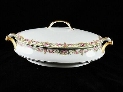 Limoges - France - A Lanternier - Pink Rose/Green/Gold - Casserole Dish with Lid