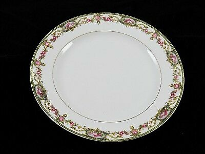 Limoges - France - A Lanternier - Pink Rose/Green/Gold - Bread Plate