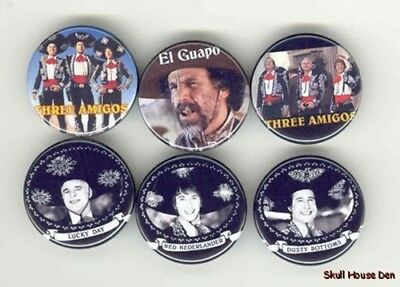 THE THREE AMIGOS 6 New Buttons/Magnets