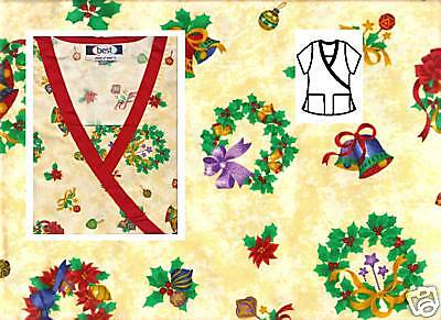 NEW Scrubs * Print Top With Trim * M * Christmas Decor Beige * # 514