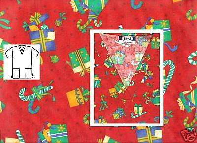 NEW Scrubs *  Christmas Print Scrub Top *  S  * Holiday Treats Red * # 506