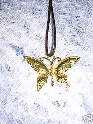 New Large Detailed Ornate Butterfly Non Fade Golden Dipped Pewter Adj Necklace