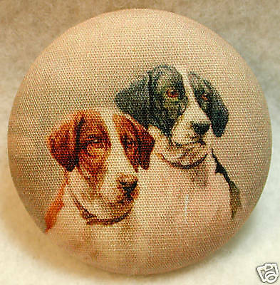 Two Sweet Dogs  Fabric Covered Button