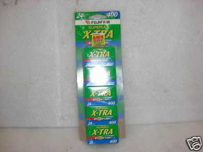 Fujifilm Superia X-tra 24exp 400 5-Pack Color Film NEW OLD STOCK EXPIRE 2004