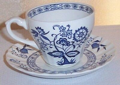 Blue Nordic J & G Meakin Blue Onion Flat Cup & Saucer