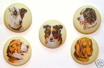 Dog Button Set of 5 Different Images *Special Price*