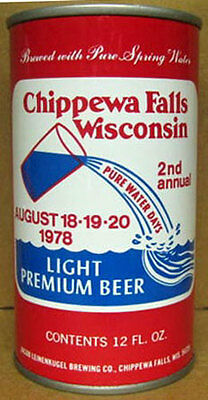 CHIPPEWA FALLS PURE WATER DAYS 1978 Beer CAN, Leinenkugel Brewing, WISCONSIN, 1+