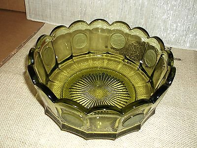 Fostoria Coin Glass Pattern Olive Avocado Green Glass Bowl Gentle Use Vintage