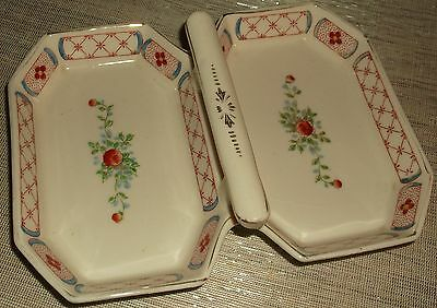 TT Handpainted Made in Japan Double Sided Candy Dish with Center Handle Used