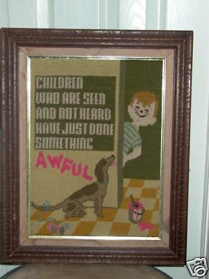 Cute Child Boy & Dog Seen Not Heard Framed Needlepoint