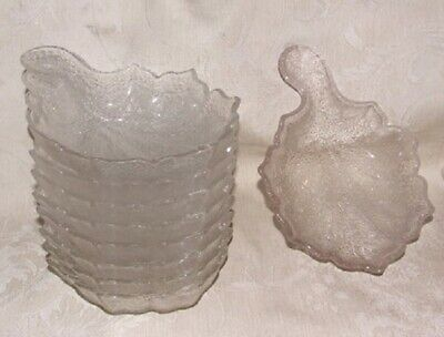 Antique 1869-73 PORTLAND GLASS Tree of Life 9 SHELL SAUCE Berry Bowls Leaf Shape