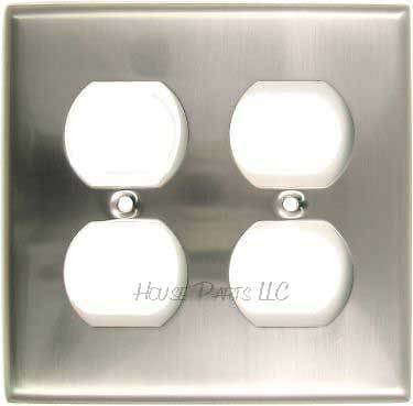 Double Duplex Outlet Cover Electrical Sain Nickel GFI Wall switch plate cover