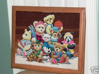 Sports Teddy Bear Framed Needlpoint Baseball, Soccer +