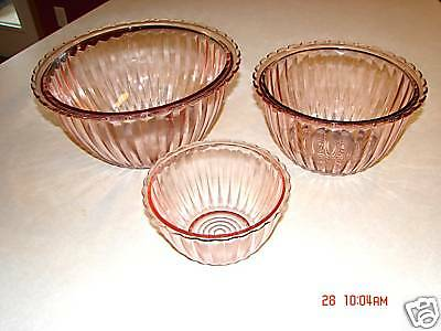 Jenny Ware 3-Piece Pink Mixing Bowl Set by Jeannette