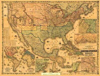 24x36 Vintage Reproduction Railroad Military Map  America Mexico 1862