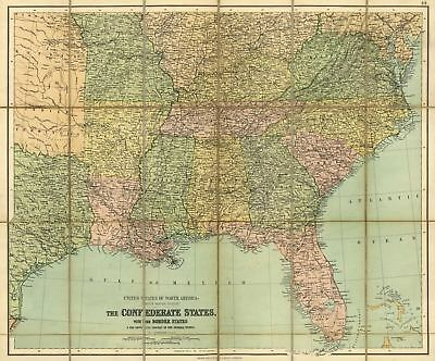 24x36 Vintage Reproduction Civil War The Confederate States map c1862