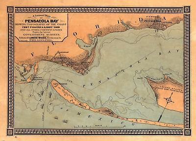 24x36 Vintage Reproduction Civil War Map Pensacola Bay Fort Pickens