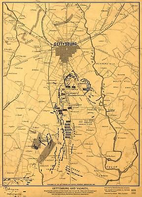 24x36 Vintage Reproduction Civil War Map Gettysburg & vicinity 1863