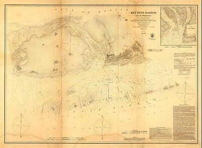 Vintage Reproduction Civil War Map Key West Harbor and its approaches1855