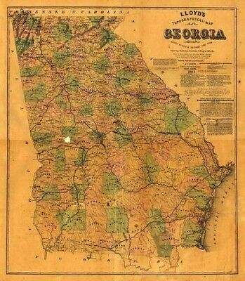 24x36 Vintage Reproduction Civil War Topographical map of Georgia 1864