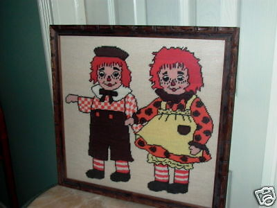 Raggedy Ann & Andy Framed Needlepoint Wall Hanging