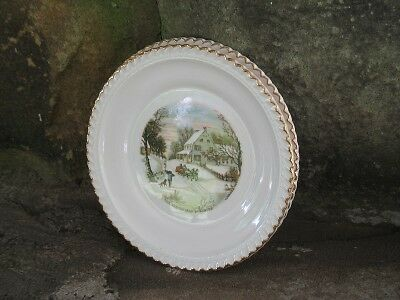 """2 Harker Currier/ives Homestead In Winter 6"""" Plate"""