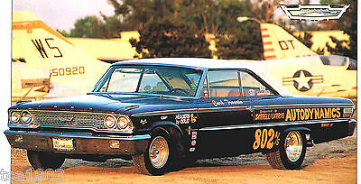 1963 FORD GALAXIE 500/500XL Drag SPEC SHEET/Brochure