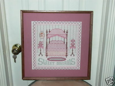 """Sweet Dreams"" Framed Embroidery Bed End Tables Pitcher"