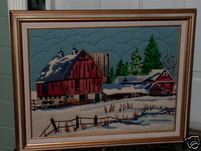 Red Barn Country Winter Tree Scene Framed Needlepoint