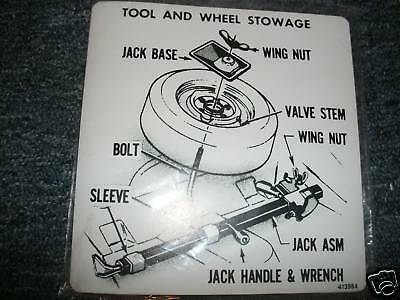 1974 Oldsmobile Cutlass 442 Tire Stowage Trunk Decal Re