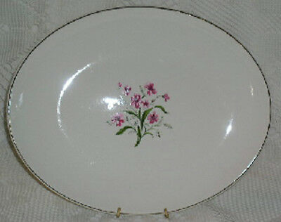 Knowles Spring Song Platter Pink Flowers Gold Trim